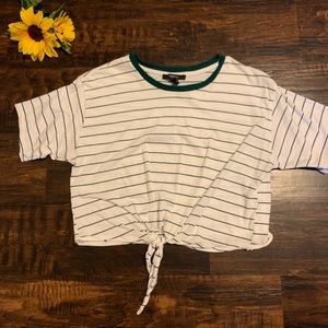 Tie-front Cropped Striped Tee